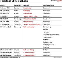 Feiertage Sachsen 2019 als Excel-, Word- & PDF-Dateien