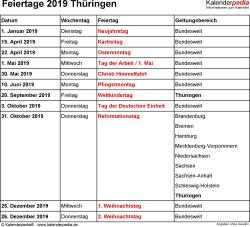 Feiertage Thüringen 2019 als Excel-, Word- & PDF-Dateien