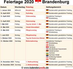 Feiertage In Brandenburg 2020
