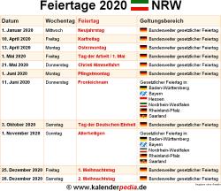 Feiertage NRW 2019, 2020 & 2021 (mit Druckvorlagen)