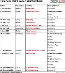 Feiertage Baden-Württemberg 2020 als Excel-, Word- & PDF-Dateien