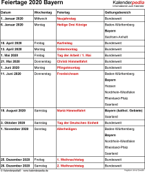 Feiertage Bayern 2020 als Excel-, Word- & PDF-Dateien