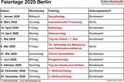 Feiertage Berlin 2020 als Excel-, Word- & PDF-Dateien