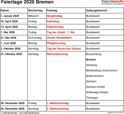 Feiertage Bremen 2020 als Excel-, Word- & PDF-Dateien