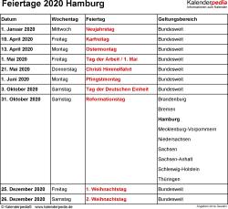 Feiertage Hamburg 2020 als Excel-, Word- & PDF-Dateien