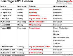 Feiertage Hessen 2020 als Excel-, Word- & PDF-Dateien