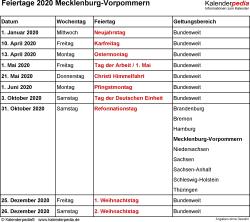 Feiertage Mecklenburg-Vorpommern 2020 als Excel-, Word- & PDF-Dateien