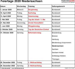 Feiertage Niedersachsen 2020 als Excel-, Word- & PDF-Dateien