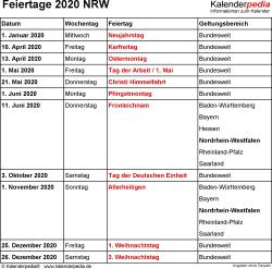 Feiertage Nrw 2019 2020 2021 Mit Druckvorlagen