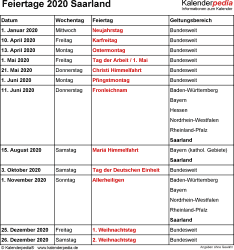 Feiertage Saarland 2020 als Excel-, Word- & PDF-Dateien