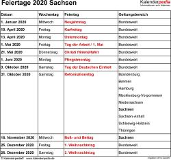 Feiertage Sachsen 2020 als Excel-, Word- & PDF-Dateien