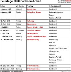 Feiertage Sachsen-Anhalt 2020 als Excel-, Word- & PDF-Dateien