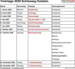 Feiertage Schleswig-Holstein 2020 als Excel-, Word- & PDF-Dateien