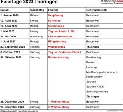 Feiertage Thüringen 2020 als Excel-, Word- & PDF-Dateien