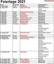 Feiertage 2021 als Excel-, Word- & PDF-Vorlagen zum Download und Ausdrucken