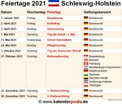 Feiertage Schleswig Holstein 2019 2020 2021