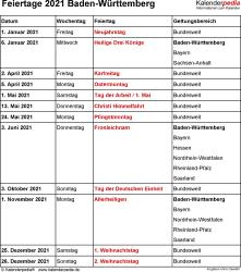 Feiertage Baden-Württemberg 2021 als Excel-, Word- & PDF-Dateien
