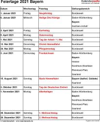 Feiertage Bayern 2021 als Excel-, Word- & PDF-Dateien