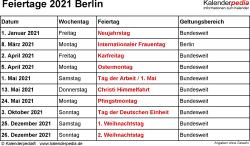 Feiertage Berlin 2021 als Excel-, Word- & PDF-Dateien