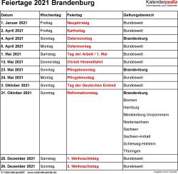 Feiertage Brandenburg 2021 als Excel-, Word- & PDF-Dateien