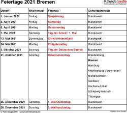 Feiertage Bremen 2021 als Excel-, Word- & PDF-Dateien