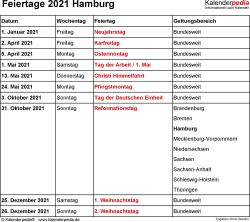 Feiertage Hamburg 2021 als Excel-, Word- & PDF-Dateien