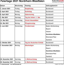 Feiertage NRW 2021 als Excel-, Word- & PDF-Dateien