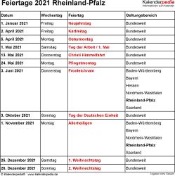 Feiertage Rheinland-Pfalz 2021 als Excel-, Word- & PDF-Dateien