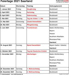 Feiertage Saarland 2021 als Excel-, Word- & PDF-Dateien