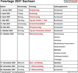 Feiertage Sachsen 2021 als Excel-, Word- & PDF-Dateien