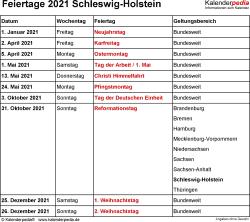 Feiertage Schleswig-Holstein 2021 als Excel-, Word- & PDF-Dateien
