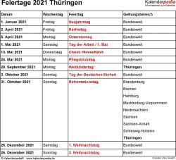 Feiertage Thüringen 2021 als Excel-, Word- & PDF-Dateien