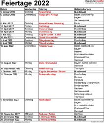 Feiertage 2022 als Excel-, Word- & PDF-Vorlagen zum Download und Ausdrucken