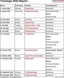 Feiertage Bayern 2022 als Excel-, Word- & PDF-Dateien