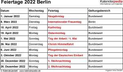 Feiertage Berlin 2022 als Excel-, Word- & PDF-Dateien