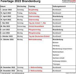 Feiertage Brandenburg 2022 als Excel-, Word- & PDF-Dateien