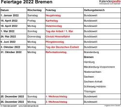Feiertage Bremen 2022 als Excel-, Word- & PDF-Dateien