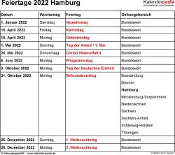 Feiertage Hamburg 2022 als Excel-, Word- & PDF-Dateien