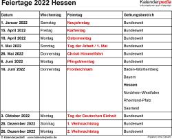 Feiertage Hessen 2022 als Excel-, Word- & PDF-Dateien