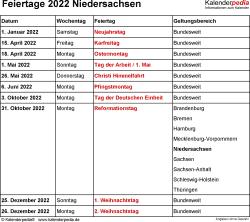 Feiertage Niedersachsen 2022 als Excel-, Word- & PDF-Dateien