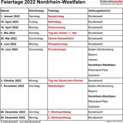 Feiertage NRW 2022 als Excel-, Word- & PDF-Dateien