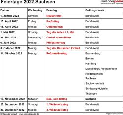 Feiertage Sachsen 2022 als Excel-, Word- & PDF-Dateien