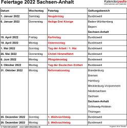 Feiertage Sachsen-Anhalt 2022 als Excel-, Word- & PDF-Dateien