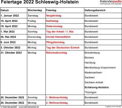 Feiertage Schleswig-Holstein 2022 als Excel-, Word- & PDF-Dateien