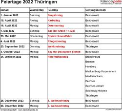Feiertage Thüringen 2022 als Excel-, Word- & PDF-Dateien
