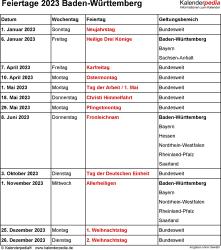 Feiertage Baden-Württemberg 2023 als Excel-, Word- & PDF-Dateien