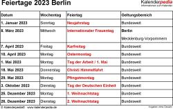 Feiertage Berlin 2023 als Excel-, Word- & PDF-Dateien