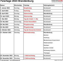Feiertage Brandenburg 2023 als Excel-, Word- & PDF-Dateien