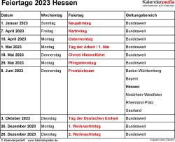Feiertage Hessen 2023 als Excel-, Word- & PDF-Dateien