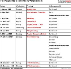 Feiertage Mecklenburg-Vorpommern 2023 als Excel-, Word- & PDF-Dateien